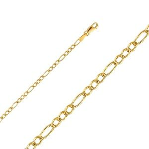 TGDJ Accessories - 14K Yellow 2.7mm Figaro 3+1 Pave Chain - 24""